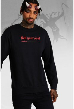 Mens Black Halloween Sell Your Soul Sweatshirt