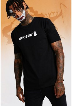 Mens Black Halloween Ghostin' T-Shirt