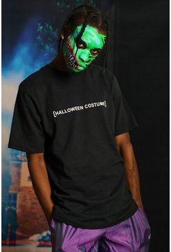 Mens Black Halloween Costume Text T-Shirt