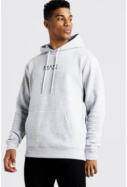 Mens Grey Original Man Oth Fleece Hoodie