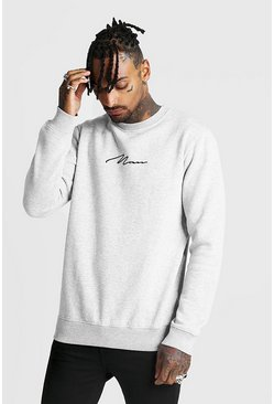 Mens Grey Man Signature Crew Neck Fleece Sweatshirt