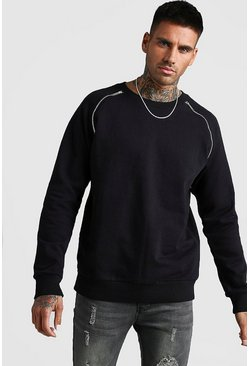 Mens Black Raglan Sweatshirt With Zip Detail