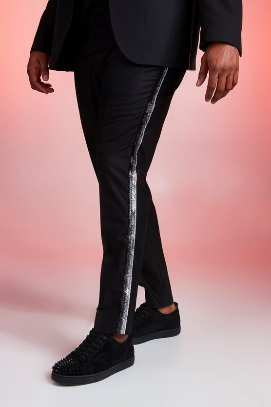 Black Big And Tall Skinny Fit Trouser With Metallic Tape