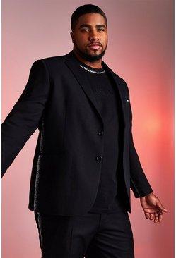 Black Big And Tall Skinny Fit Blazer With Metallic Tape