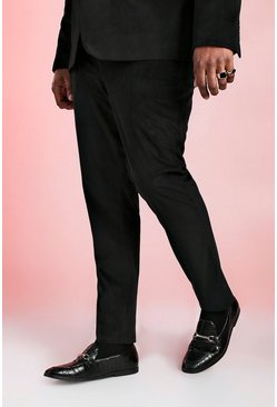 Mens Black Big And Tall Skinny Fit Velour Trouser