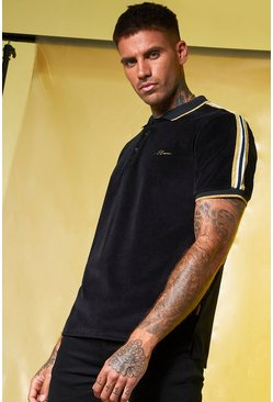 Mens Black Velour MAN Gold Polo With Tape