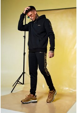 Mens Black Skinny Fit MAN Gold Hooded Panelled Tracksuit