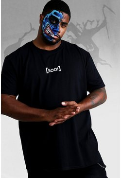 Mens Black Big And Tall Halloween T-Shirt With Boo Print