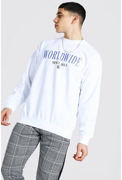 White Oversized Worldwide Print Sweatshirt