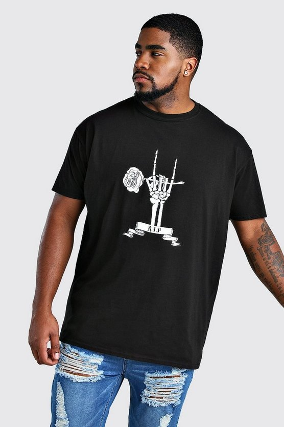 Mens Black Big And Tall Skeleton RIP T-Shirt