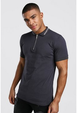 Polo zip officiel coupe musculaire, Anthracite