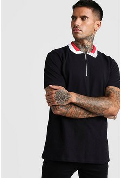 Mens Black Pique Zip Polo With Contrast Collar