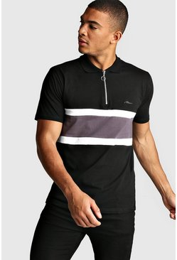 Polo zippé colorblock signature MAN, Noir