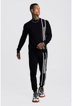 Mens Black MAN Official Printed Panel Sweater Tracksuit