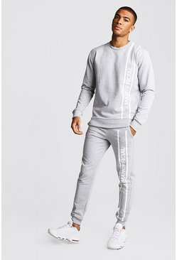 Mens Grey marl MAN Official Printed Panel Sweater Tracksuit