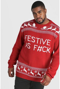 Red Big And Tall Festive Slogan Christmas Jumper