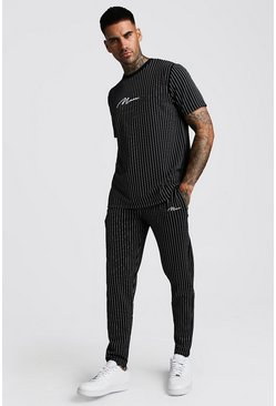 Black Smart MAN Signature Jacquard Stripe Tracksuit