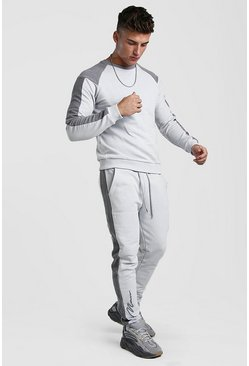Mens Grey 3D MAN Signature Contrast Panel Sweater Tracksuit