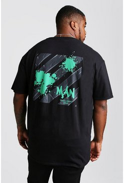 Mens Black Big And Tall MAN Exclusive Drip Graffiti T-Shirt