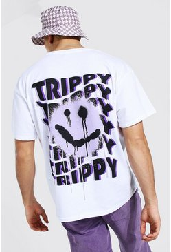 White Oversized Trippy Graffiti Graphic Print T-shi