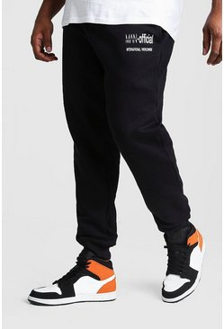 Mens Black Big And Tall MAN Official Skinny Jogger