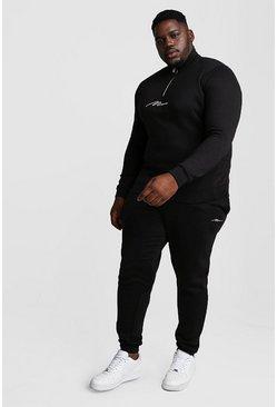 Black Big and Tall MAN Script Funnel Tracksuit