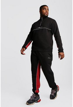 Mens Black Big And Tall Half Zip Contrast Panel Tracksuit