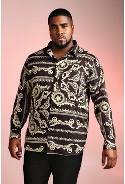 Mens Black Big And Tall Long Sleeve Baroque Print Shirt