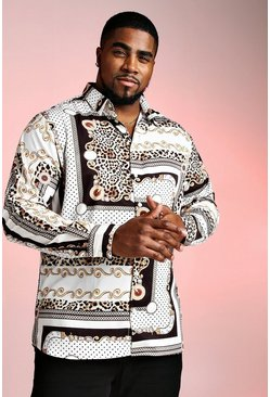 Ecru Big And Tall Long Sleeve Chain Animal Print Shirt