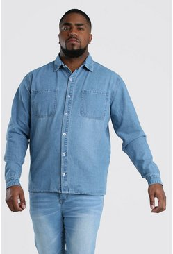 Big and Tall Kariertes Regular Fit Jeanshemd, Hellblau