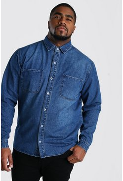 Mid blue Big And Tall Regular Fit Denim Shirt