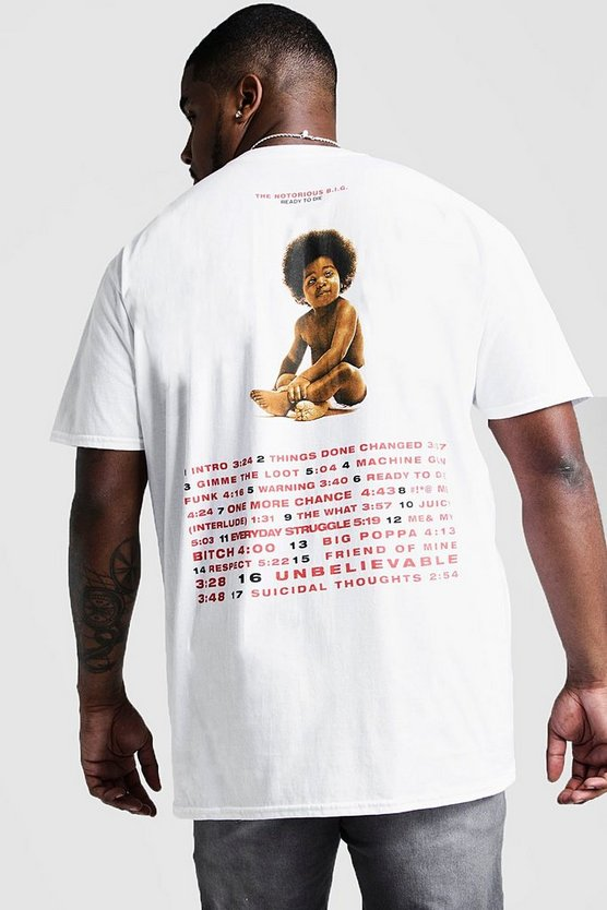 Mens White Big And Tall Biggie Songs License T-Shirt