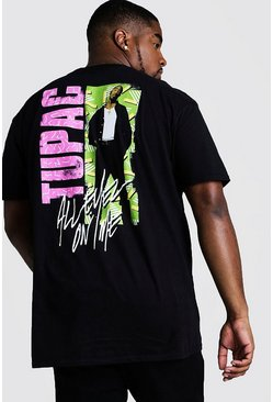 Mens Black Big And Tall 90's Tupac Back Print License T-Shirt