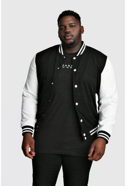 Mens Black Big And Tall Varsity Bomber Jacket