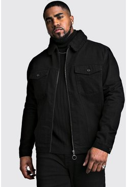 Black Plus Size Zip Through Borg Collar Denim Jacket