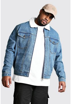 Mens Mid blue Big And Tall Zip Through Borg Collar Denim Jacket