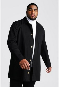 Black Big And Tall Single Breasted Trench Coat