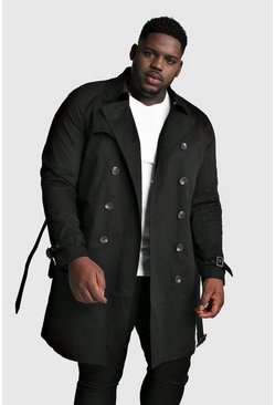 Mens Black Big And Tall Double Breasted Trench Coat