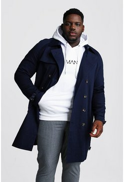 Navy Big And Tall Double Breasted Trench Coat