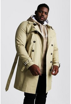 Stone Big And Tall Double Breasted Trench Coat