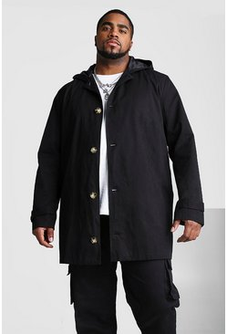 Mens Black Big And Tall Single Breasted Hooded Trench Coat