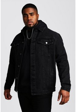 Black Plus Size Denim Western Jacket