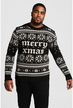 Mens Black Big And Tall Metallic Gold Christmas Jumper
