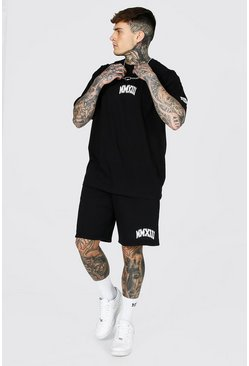 Black Oversized Numeral Print T-shirt & Short Set