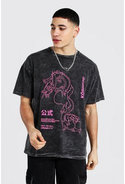 Vintage wash Oversized Dragon Print T-shirt