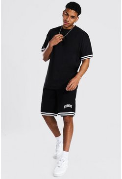 T-shirt oversize et short Homme, Black