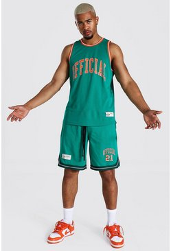 Green Official Mesh Vest And Basketball Set