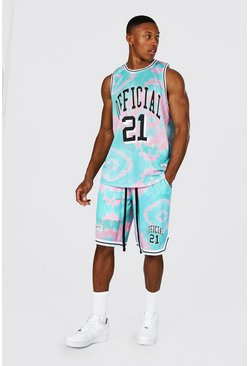 Official Tie Dye Mesh Vest And Basketball Set, Pink