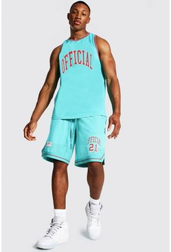 Teal Official Mesh Vest And Basketball Set