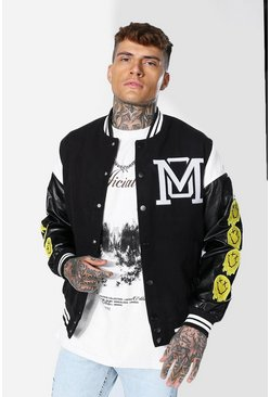 Black Om Drip Face Varsity Jacket